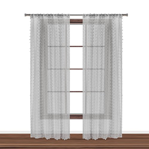 Bathroom and More Collection Set of Two (2) SHEER Window Curtain Panels: Silver/Light Gray 3-D Small Soft Tufts Design. 84in Long Each. (Panel Pair (2) 84