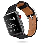 for Apple Watch Bands 38MM Men Women, V-MORO Softer Genuine Leather iWatch Band Replacement Cuff Bracelet Strap with Special Stainless Steel Buckle for Apple Watch Series 3/2/1 Sport Edition 38 Black