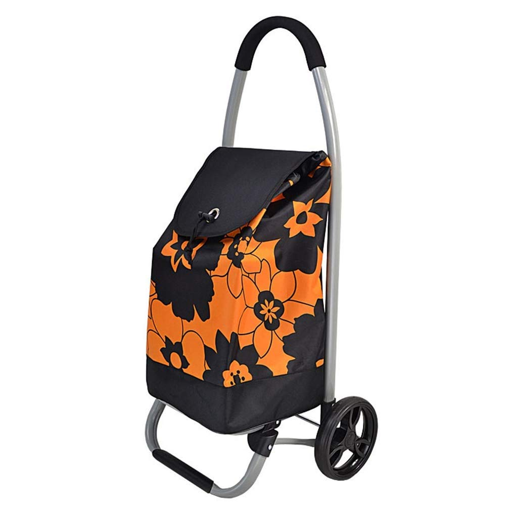 Chooseator 大容量折りたたみワイドフラットショッピングカート、ポータブル折りたたみショッピングトロリー2輪、人間工学に基づいた、快適なグリップ(50 * 32 * 28 cm) (色 : Orange)  Orange B07Q6TGMKR