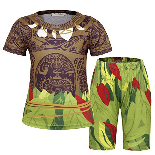AmzBarley Boys Moana Maui Costumes Kids T-Shirts and Shorts Pajamas Holiday Cosplay Dress up Saint Patrick's Day Outfits Age 7-8 Years Size 8 Brown]()