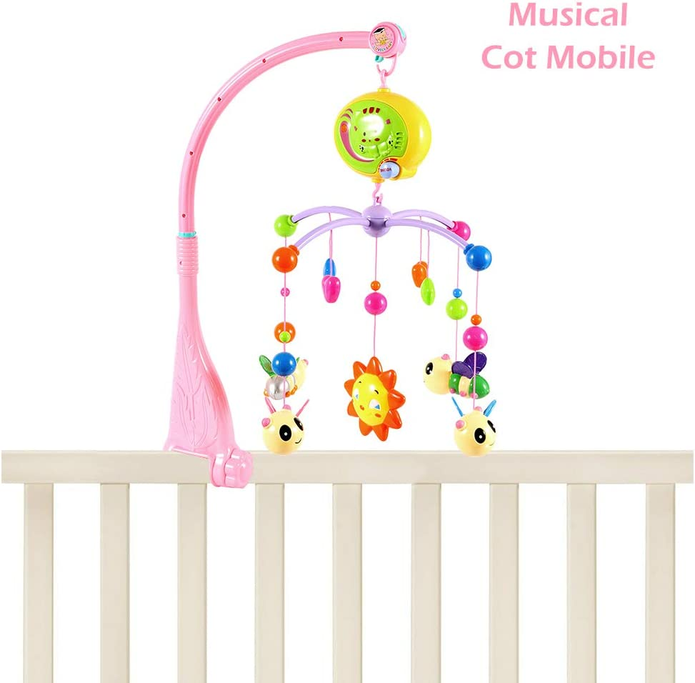 # 1 Pink Baby Cot Mobile with Lights and Music Stand Remote Control Rotating Musical Crib with Projector Hanging Rattles Remote Control Music Box Toy for Newborn Infant Boys and Girls