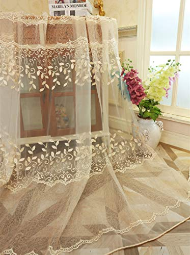 Embroidered Floral Sheer Curtains Country Style Beautiful Edge Panel Rod Pocket Rustic Lace Curtain Panel Window Voile Drapes for Living Room 1 Panel AiFish 84 Inches Length Beige W39 x L84 inch