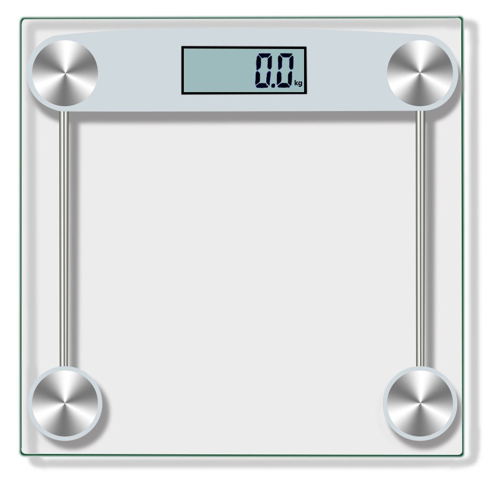 Dingji Digital Body Weight Bathroom Scale Tempered Glass 150KG 330Pound Silver