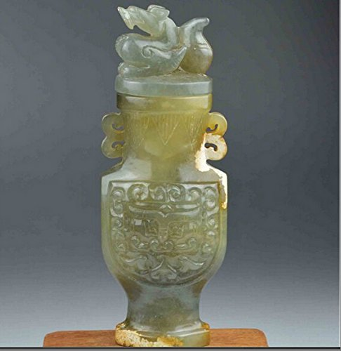 nephrite jade hand carved pot dragon statue carving hetian white jadeite china chinese antique vase old box beast ancient