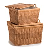 The Basket Lady Lift-off Lid Wicker Storage Basket Nested set of 2 Toasted Oat