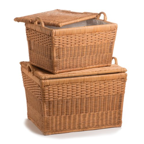 The Basket Lady Lift-off Lid Wicker Storage Basket Nested set of 2 Toasted Oat by The Basket Lady