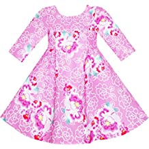 Sunny Fashion Girls Dress Pink Flower Print 3/4 Sleeve Autumn Winter