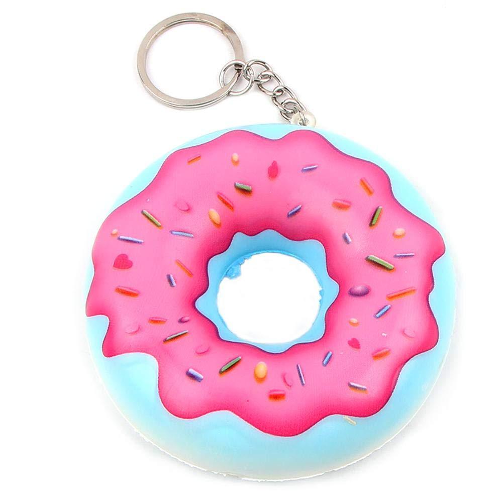 WangWtry Moda Color Caramelo Donut Llavero PU Simulación ...