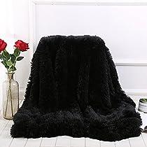 HOMIGOO Super Soft Shaggy Faux Fur Long Hair Throw Blanket Cozy Elegant Decorative Blanket Pale Mauve
