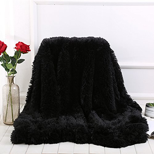 HOMIGOO Super Soft Shaggy Faux Fur Long Hair Throw Blanket Cozy Elegant Decorative Blanket Black