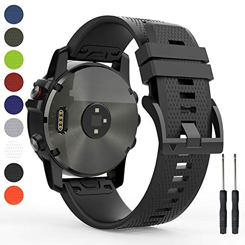 HUMENN 22mm Band Compatible with Garmin Fenix 5, Soft Silicone Sport Watch Strap Replacement for Fenix 5 Plus, Garmin Instinct, Forerunner 935, Approach S60, Quatix 5(Not Fit Fenix 5X/5S)