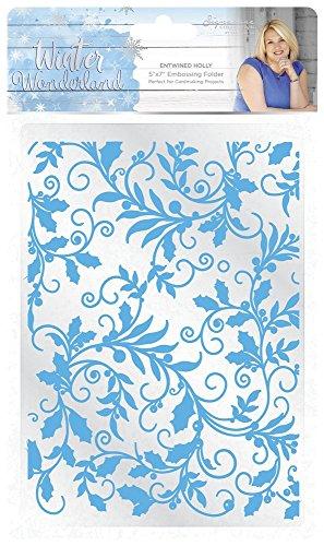(Sara Siganture S-WW-EF5-EH Sara Signature Winter Wonderland-5x7 Entwined Holly Embossing Folder, White )