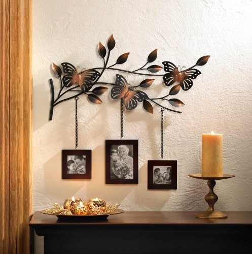 Butterfly Art Trio (Bronze Butterfly Metal Art Sculpture 3 Photo Picture Wall Frame Family Wallet 2