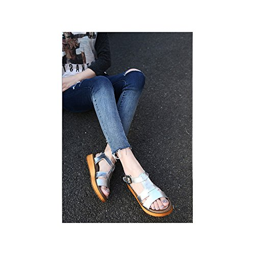 OCHENTA - Women Open Toe - Sandalias Mujer Plateado