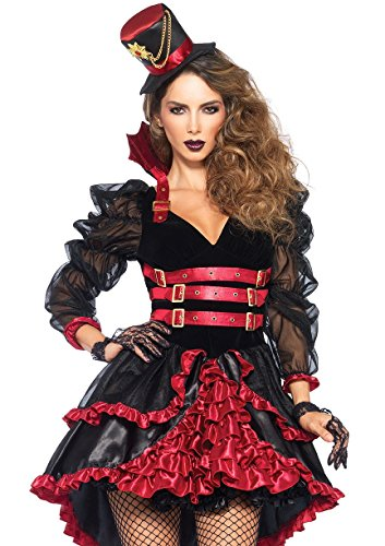 Leg Avenue Women's Victorian Vamp Steampunk Costume, Black/Burgundy, Large