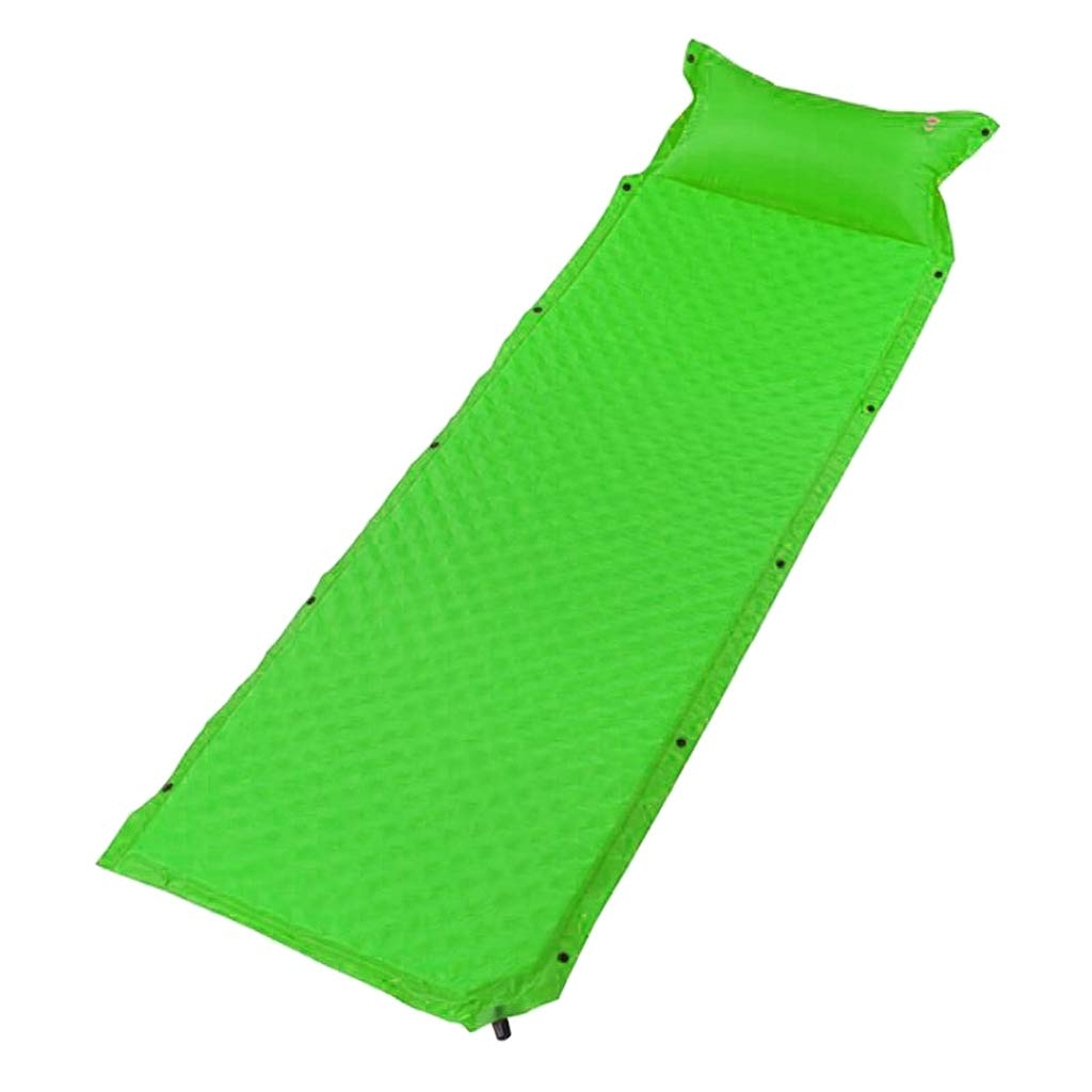 Prettyia Lightweight Thick Self Inflating Camping Sleeping Pad/Mat Inflatable Mattress with Pillow - Green