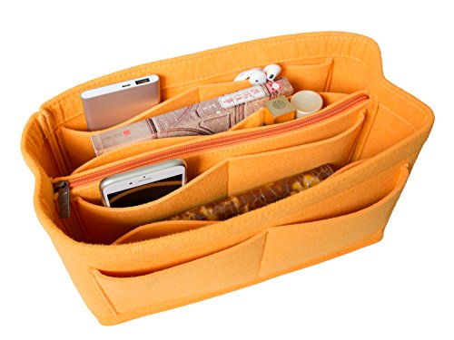 LUZEE Purse Organizer with Middle Zipper Fits Neverfull MM Speedy 30 In Bag Organizer For Handbag Tote (Salmon)