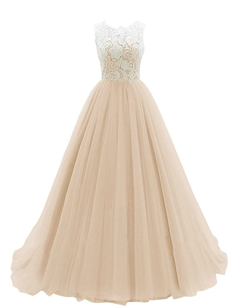Champagne Shiningdress Women's Simple Scoop Neck Lace Long Tulle Party Evening Prom Dresses
