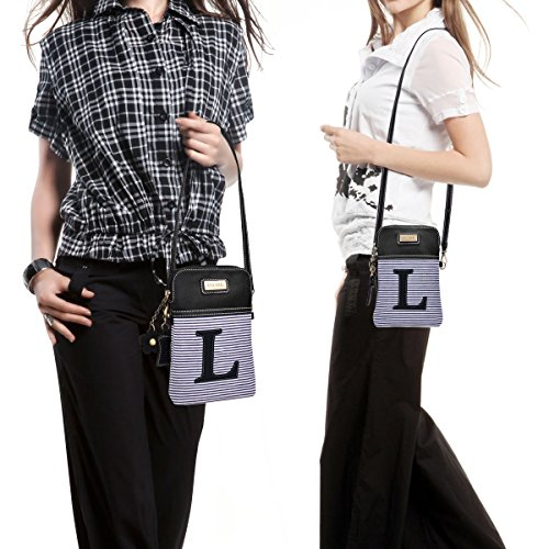 Canvas Letter Crossbody Purse Black PU White with Monogram Women L inOne Bag Stripe Leather Handbag Cell Phone ZdwTTqO