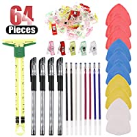 Hilitchi Sewing Tool Kit with 5 in 1 Sliding Gauge, Multipurpose Sewing Clips, Heat Erase Pens for Fabric with 8 Free Refills and 4 Pen Containers, and Tailor