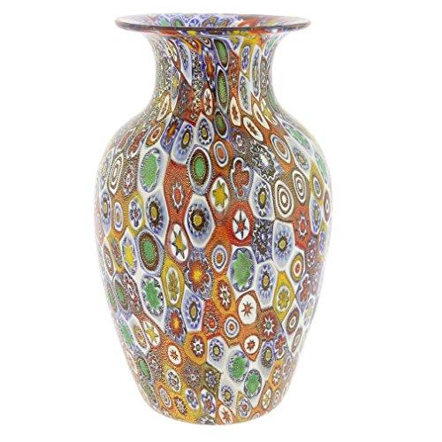 (GlassOfVenice Murano Glass Golden Quilt Millefiori Urn Vase )