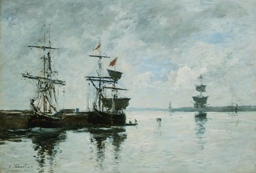 Port Scene by Eugene Boudin Wall Decal - 24 Inches W x 16 Inches H - Peel and Stick Removable Graphic