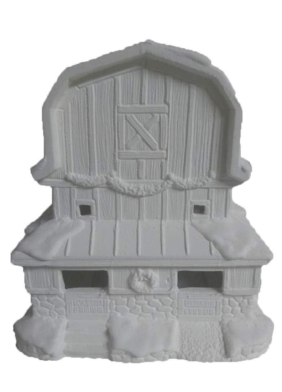 Reindeer Stable Village Barn 7'' x 8'' x 6'' Ceramic Bisque, Ready to Paint