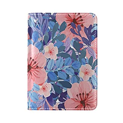 70%OFF PU Leather Passport Holder Cover Case with Watercolor Floral Pattern Travel One Pocket