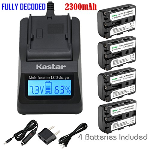 Kastar Ultra Fast Charger Kit and 4 X NP-FM50 InfoLithium Battery for Select Sony M Type Equivalent Camcorder/Digital Camera