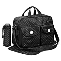 Black 3pcs Baby Diaper Nappy Changing Bag Set D:STAR Design