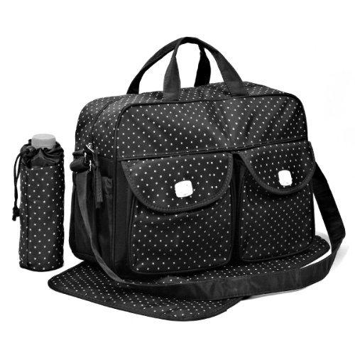 Black 3pcs Baby Diaper Nappy Changing Bag Set D:STAR Design just4baby
