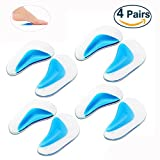 Cisixin 4 Pairs Reusable Comforable Flat Feet Correction Shoe Insoles Arch Pads for Flat Foot (Large)