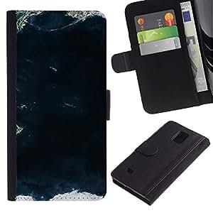 Billetera de Cuero Caso Titular de la tarjeta Carcasa Funda para Samsung Galaxy Note 4 SM-N910 / View Sea Land Ocean Waves / STRONG