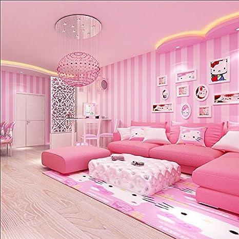LXPAGTZ Moderne Und Einfache Vertikale Streifen Tapete Rosa Prinzessin  Zimmer Schlafzimmer Kinderzimmer Warm Mädchen Lange 9,5m * Breite 0,53m  Vlies Tapete ...