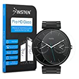 Moto 360 Screen Protector, Insten Premium Clear Tempered Glass [0.3mm Ultra-Thin] [9H Hardness] [99% UV Protection] LCD Screen Protector Shield Compatible With Motorola Moto 360