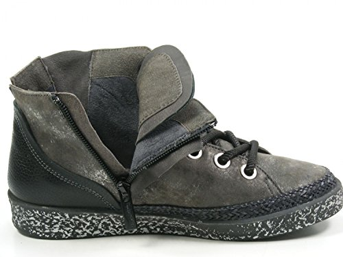 Softwaves 7-01-15 Schuhe Damen Halbschuhe Sneaker Schnürschuhe Grau