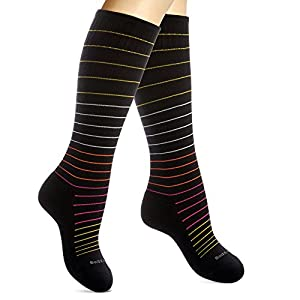 Cotton Compression Socks for Women. Graduated Stockings for Nurses, Maternity, Travel, Flight, Pregnancy, Varicose Veins, Calf Support. 15-20 mmHg Medical Circulation Hose. Knee High 1 Pair