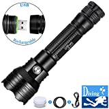 DaskFire Dive Light, Rechargeable LED Flashlight 1000 Lumen Xml-L2 Ultra Bright Handhold Flashlight Waterproof IPX8 Underwater Photography Scuba Snorkel Camping Lantern Cycling Diving Light