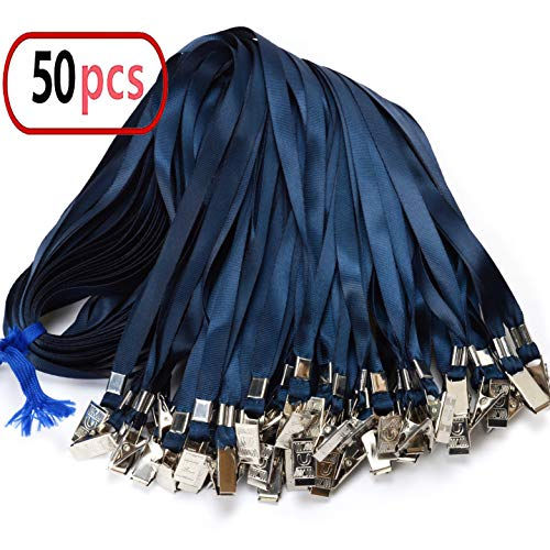Navy Blue Lanyard Bulk Clip Nylon Neck Flat Lanyard with Clips Durably Woven Navy Blue Badge lanyards with Clip Navy Blue lanyards for id Badges, lanyards 50Pack 32-inch