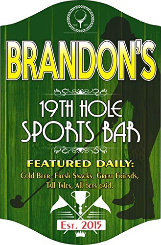 - 19th Hole Personalized Golf Sign with Your Custom Name - Sports Bar Signs & Man Cave Decor - Golf Sports Sign