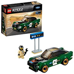Create a buildable LEGO® version of a classic American muscle car—the LEGO Speed Champions 75884 1968 Ford Mustang Fastback. Ideal for display or racing, it features a minifigure cockpit, removable windshield, wheels with rubber tires and gol...