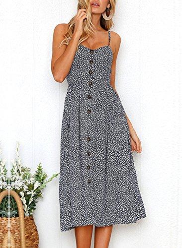 Sommer Damen Kleider Sexy Schlinge Rückenfrei Midi Kleid Mit ...