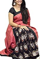 Purvi Fashion Women's Cotton Silk Saree With Blouse Piece (Srp-Ziya Black_Multi-Colour)