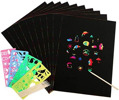 Yunnyp Kratzkunst-Set Enthalten 50 Stück Regenbogen Magie Scratch Off Papier + 5 Stück Stift + 4 Schablonen Kinder Geschenk