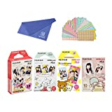 Fujifilm Instax Mini Film 4 Pack Bundle! Disney MICKEY & Friends, Pooh, RiLakkuma, Little Twin Stars 10 X 4 = 40 Sheets Assort Set + withC Microfiber Cleaning Cloth + Photo Frame Stickers 20 pcs