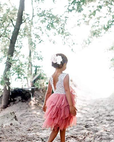 Topmaker Backless A-line Lace Back Flower Girl Dress (1T, Sleeve-Ivory)