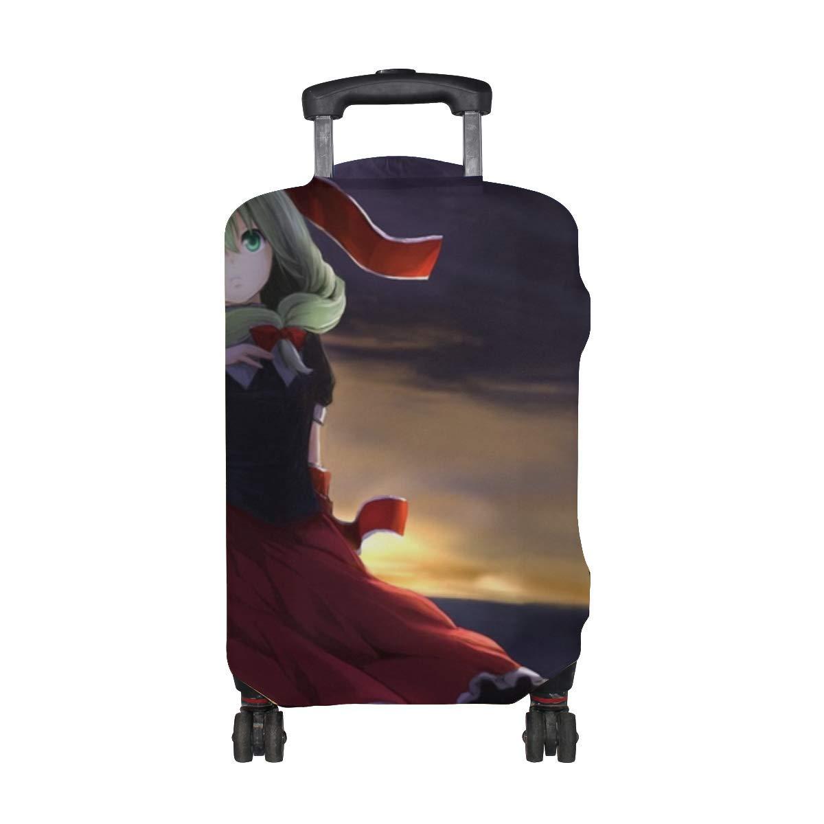 Maxm Touhou Kagiyama Hina Girl Anime Dress Pattern Print Travel Luggage Protector Baggage Suitcase Cover Fits 18-21 Inch Luggage