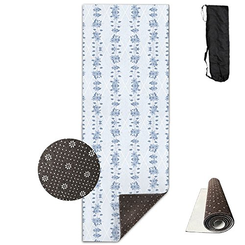 HHHSSS Long 70inch/wide 35inch Non Slip - Glory Bower Clematis Chambray Blues Wallpaper Exercise Mat For Yoga, Workout, Fitness With Carrying Strap & (Chambray Wallpaper)