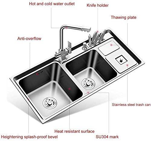 キッチンシンク浴室フィクスステンレスシンクキッチンフルーツ野菜クリーナー盆地洗面浴室のシンクのナイフホルダーダブルスロット三シンクボウル LCSHAN
