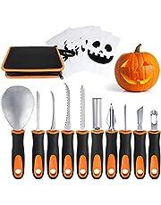 Professional Pumpkin Carving Kit, Upgrade Anti-Slip Rubber Handle 10 Pcs Pumpkin Carving Tools Set with Zipper Bag and 6 Pcs Carving Templates for Halloween Jack-O-Lanterns